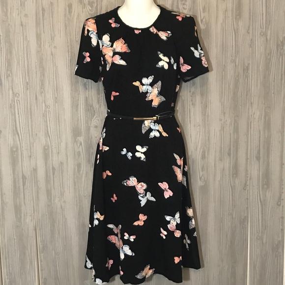 cc00a2657c5f Oasis Dresses | Butterfly Belted Short Sleeve Midi Dress Tea | Poshmark